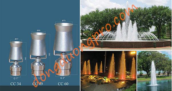 Vòi phun cascade - Vòi phun cây thông cho phun nước nghệ thuật