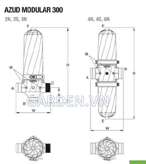 Bộ Lọc Đĩa Azud Modular 300: 30 m3/h
