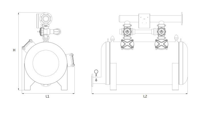 Bản vẽ chi tiết bộ lọc của bộ lọc cát buồng đôi Armas - DGF