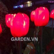 Đèn trang trí hình hoa tulip bằng vải 1