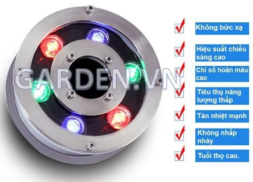 Đèn led có lỗ 130ZK, D32, 6W, toàn thân inox